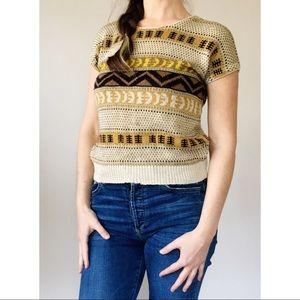 70s Lightweight Silk Cap Sleeve Sweater S
